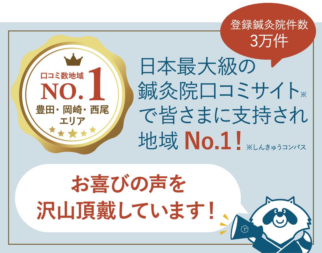 口コミ数地域No.1!